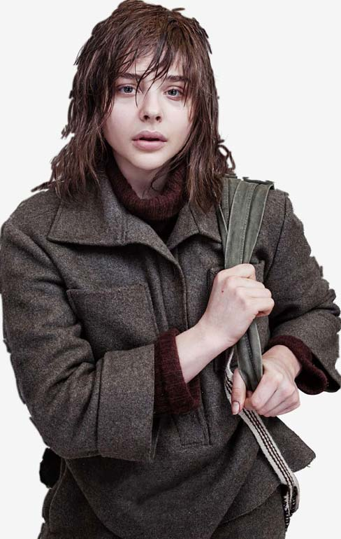Patricia walks through the snow in a thick coat and jumper and a bag over her shoulder; her greasy hair sticking to her face.