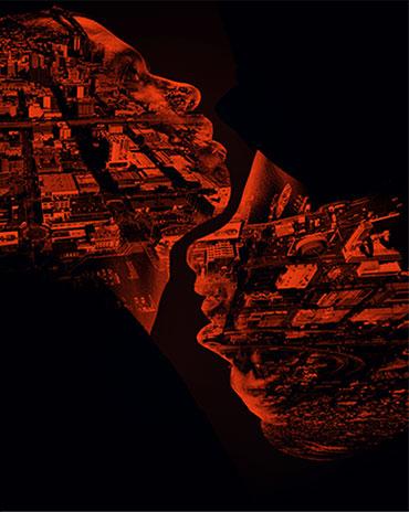 Artistic silhouettes over cityscape