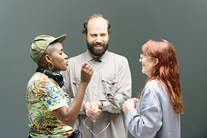 Director Janicza Bravo on the set of LEMON, a Magnolia Pictures release. Photo courtesy of Magnolia Pictures.