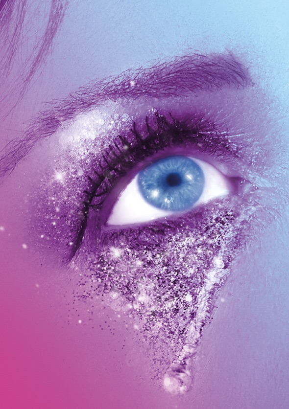 Follies show image. A close up photograph of a showgirls eye covered in glitter.