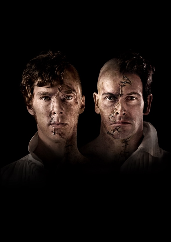 Show image of Benedict Cumberbatch and Jonny Lee Miller as Frankenstein and the creature he creates.