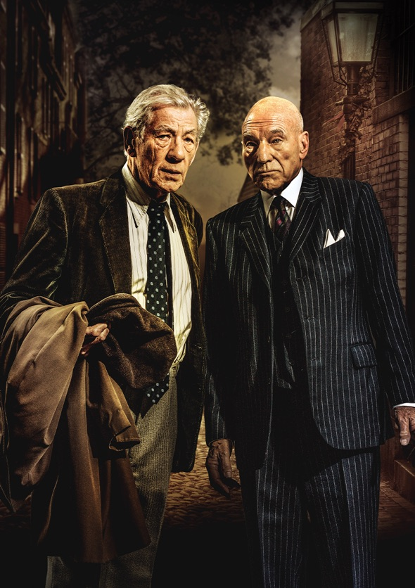 Show image of two men, Ian McKellen and Patrick Stewart, dressed in suits looking confused.