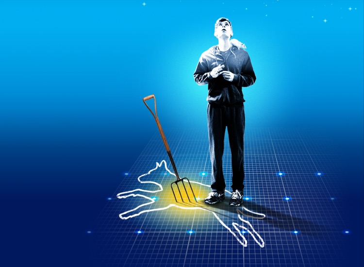 The Curious Incident of the Dog in the Night-Time show image of a teenage boy standing and looking up to the sky