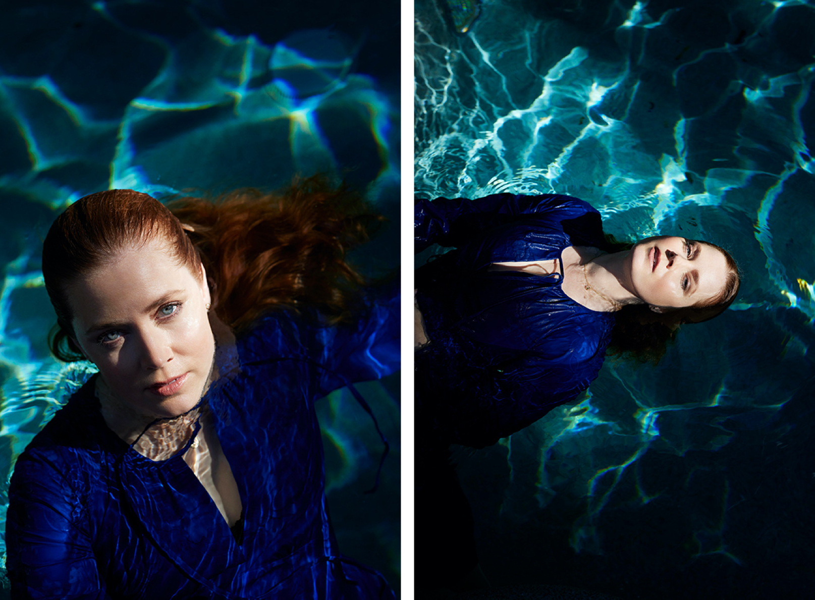 Amy Adams floats in her pool