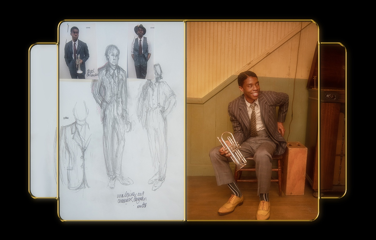 Boseman is dressed in a pinstriped jacket, yellow tie, and a ritzy pair of yellow shoes. The still image from the film is compared with the costume sketches, done in pencil.