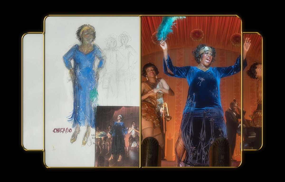 Davis wears a royal blue dress with sparkling stars and fringe embellishment, and a gold headband. Around her neck, Ma's signature gold-coin necklace is visible. The still from the film is compared with a costume sketch, done in color.