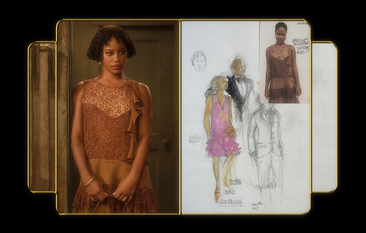Paige appears in a golden-yellow flapper dress and matching quilted handbag. The still image from the film is compared with a costume sketch showing Dussie Mae in pink.