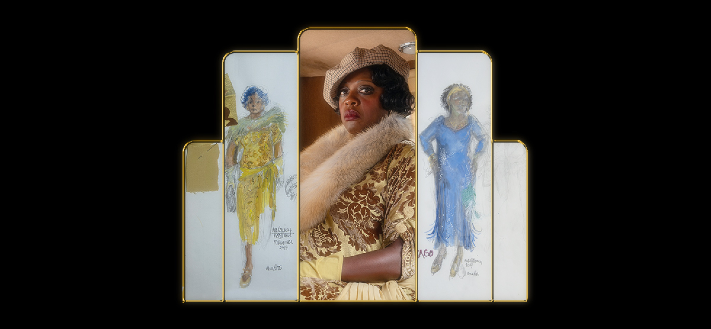 Viola Davis as Ma Rainey in Ma Rainey's Black Bottom. She wears a checked cap and a light-colored fur. The still image from the film appears between two costume sketches, the first showing Ma in yellow, the second depicting her in blue.