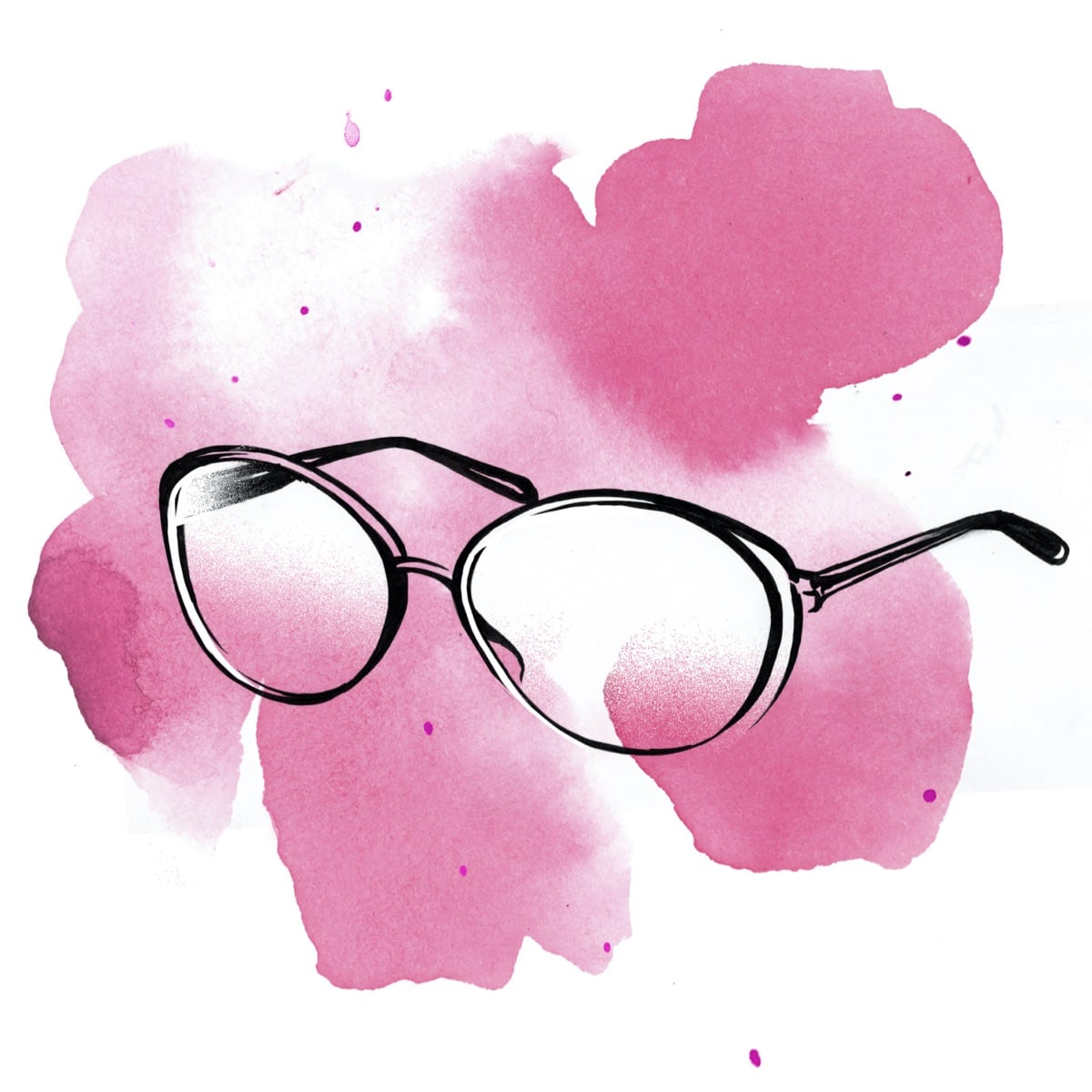 A whimsical watercolor illustration of glasses à la Miranda Priestly, Meryl Streep's iconic character from The Devil Wears Prada.
