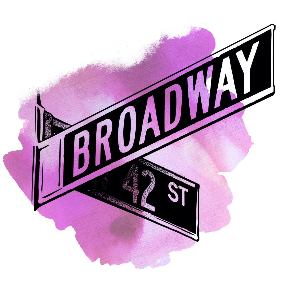 A watercolor illustration of the street signs marking the corner of Broadway and West 42nd Street in New York City. If you can make it there, you can make it anywhere!