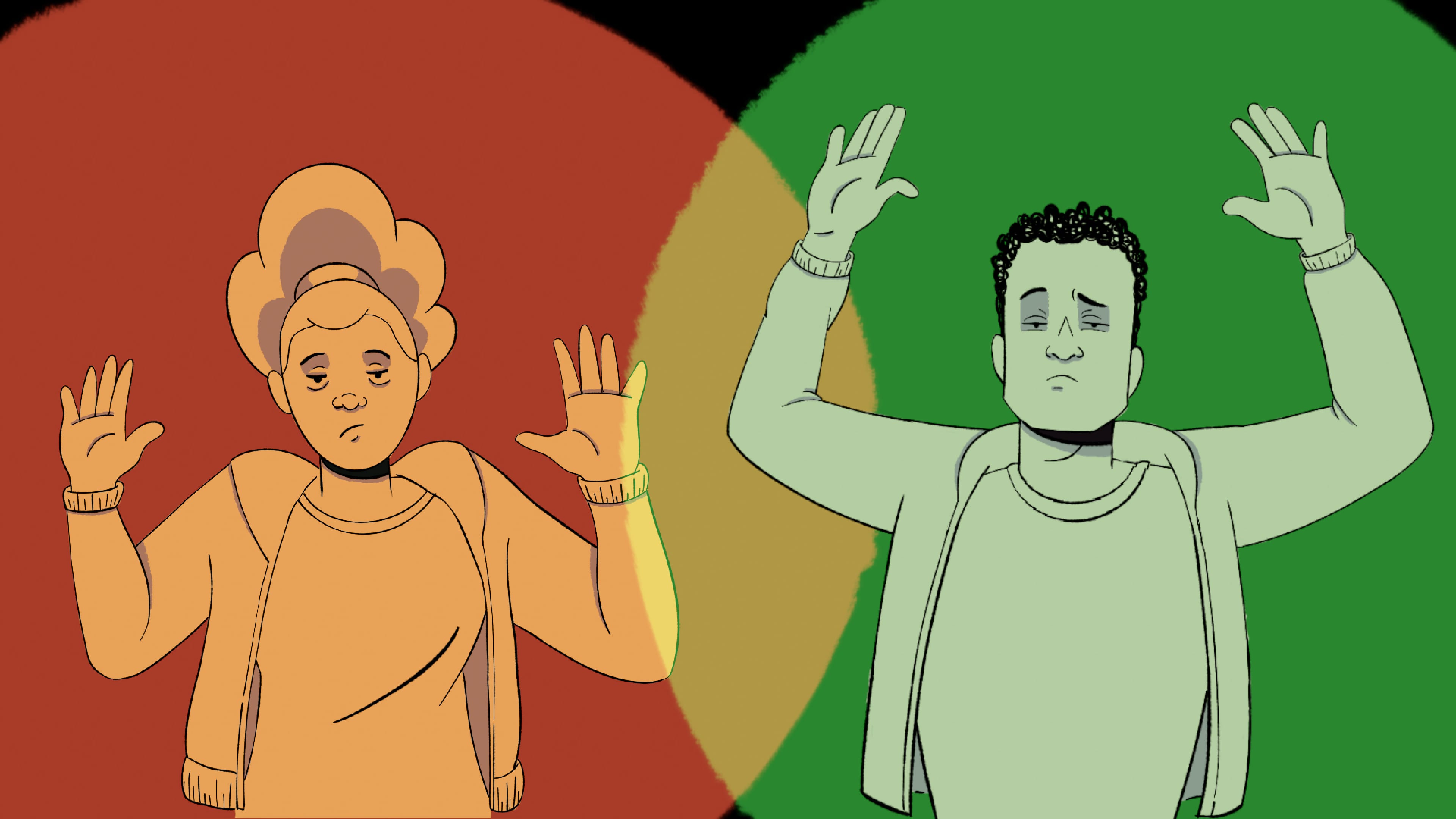"An animation by an anonymous artist. It shows a woman and a man framed in circles of red and green light. Both have their hands up. In the film, this image is accompanied by an increasingly frantic narration: ""Red light stop; green light frisk."""