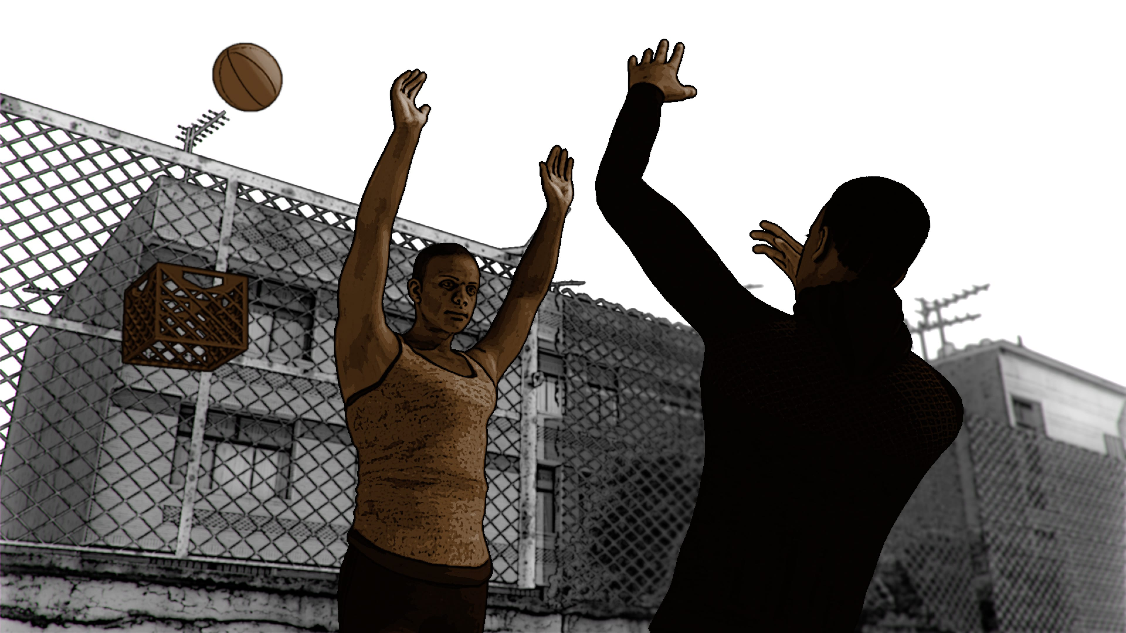 "An animation by James A. Sims shows two Black individuals playing basketball, using a milk crate as a hoop. In the film, the animation accompanies narration: ""I want to go back to when we used milk crates for basketball hoops, when hands up don't shoot was for b-boys blocking jumpshots."""