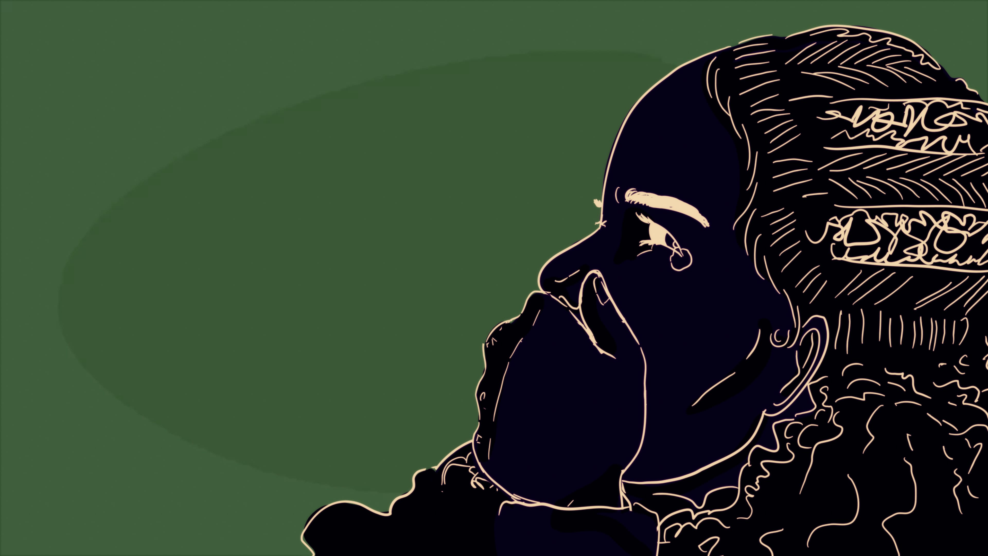 "An illustration by the students of Sisler High School shows Black woman holding her hand to her mouth in what appears to be shock and pain. The illustration is minimalist, set against a green background, with details etched in a yellow-ish white. In the film, the animation accompanies narration: ""'Cause even when Black is in the light, people still don't see shit"""