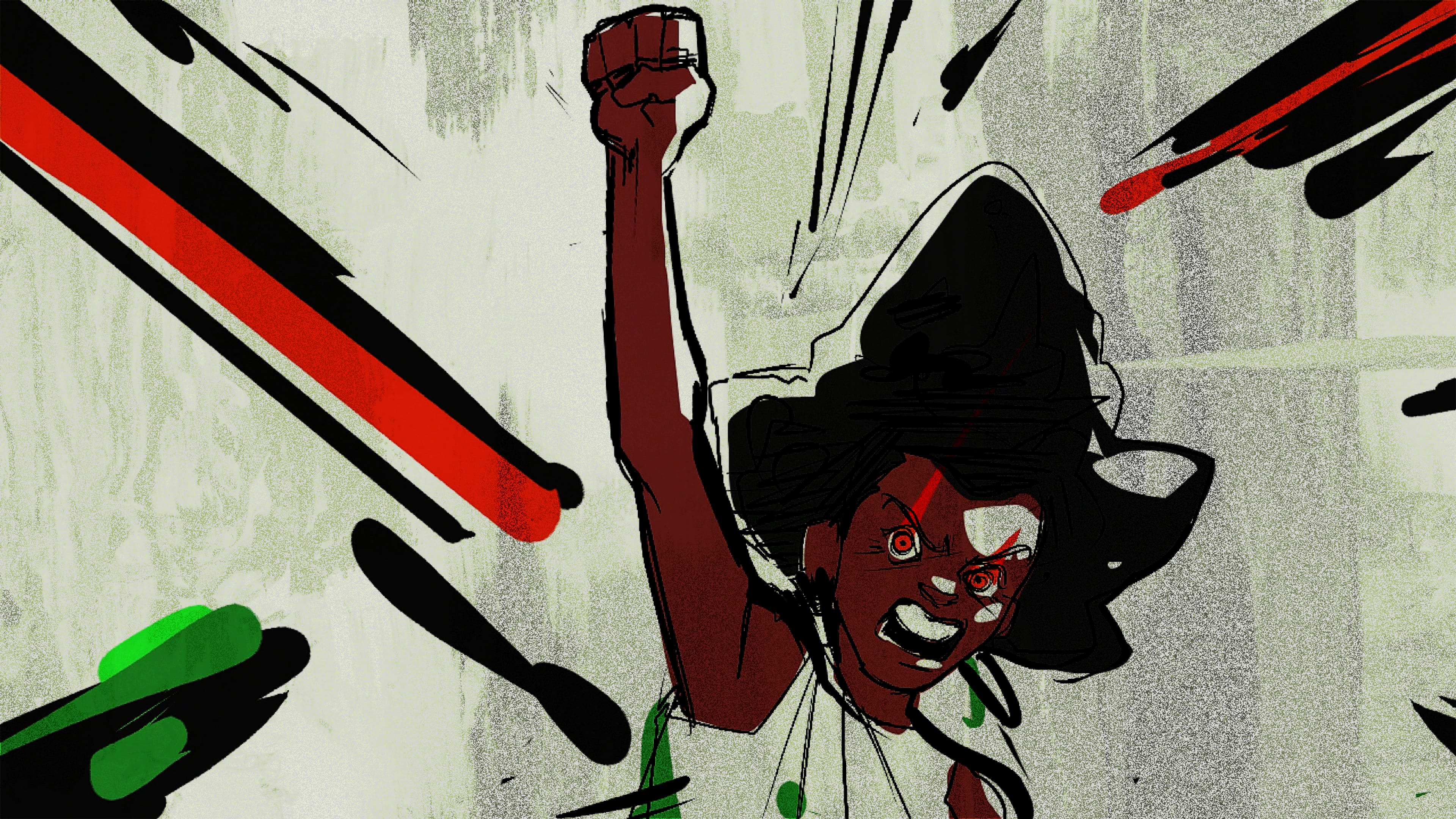 "An illustration by Amber L. Jones shows an individual holding up a fist, an expression of anger and determination on their face. In the film, the animation accompanies narration that lists a series of questions a mother asks about her Black child in America: ""May I fight for her name without slander or harm?"""