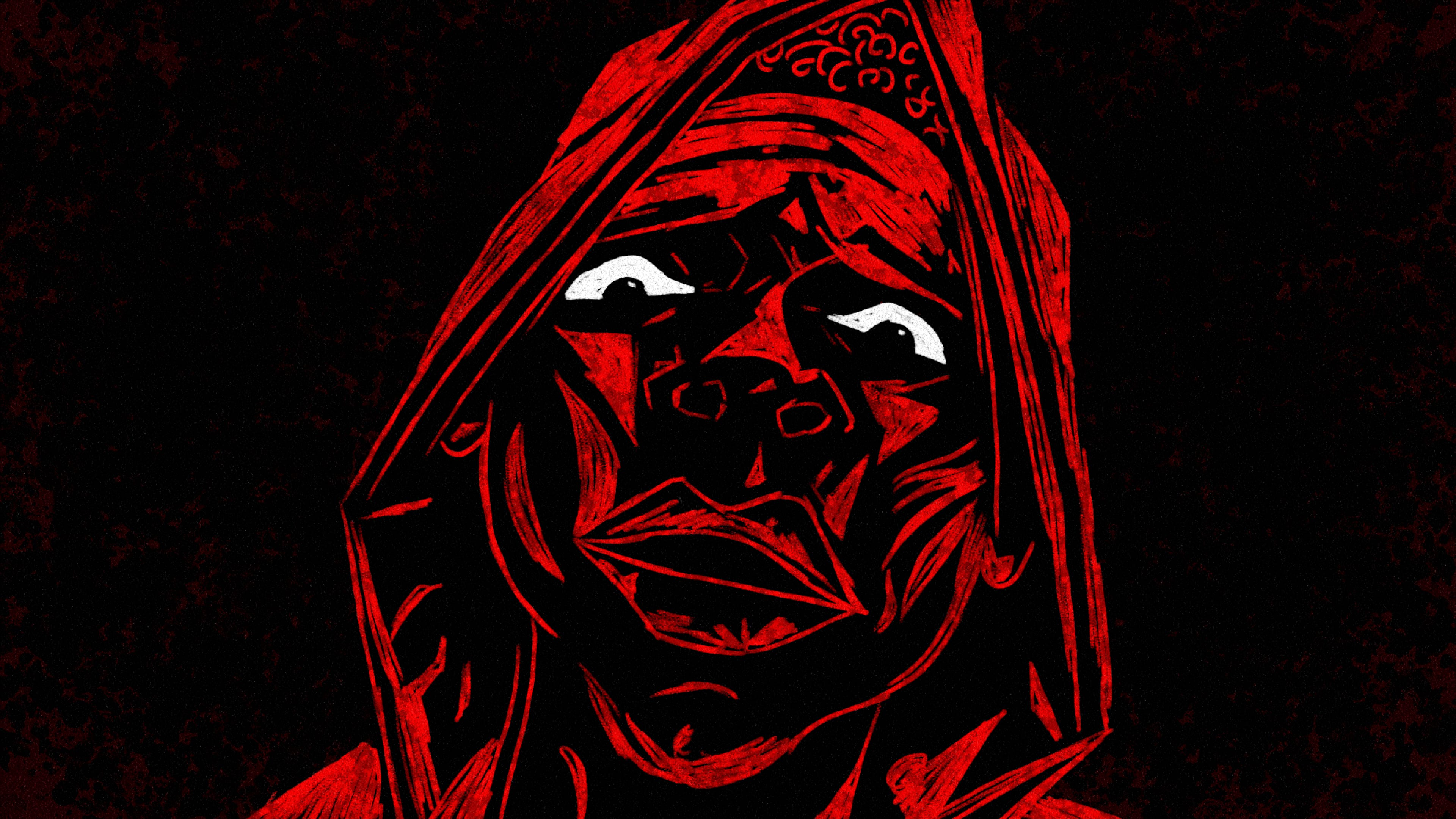 "An illustration by Molecule VFX shows a face against a black background, details etched in a bright red. The eyes of the individual are particularly piercing, with black irises set against bright whites. In the film, the red light cast on this figure comes from the car of an assailant. The narration over the animation goes: ""Now Black lives gettin' robbed by wannabe cops."""