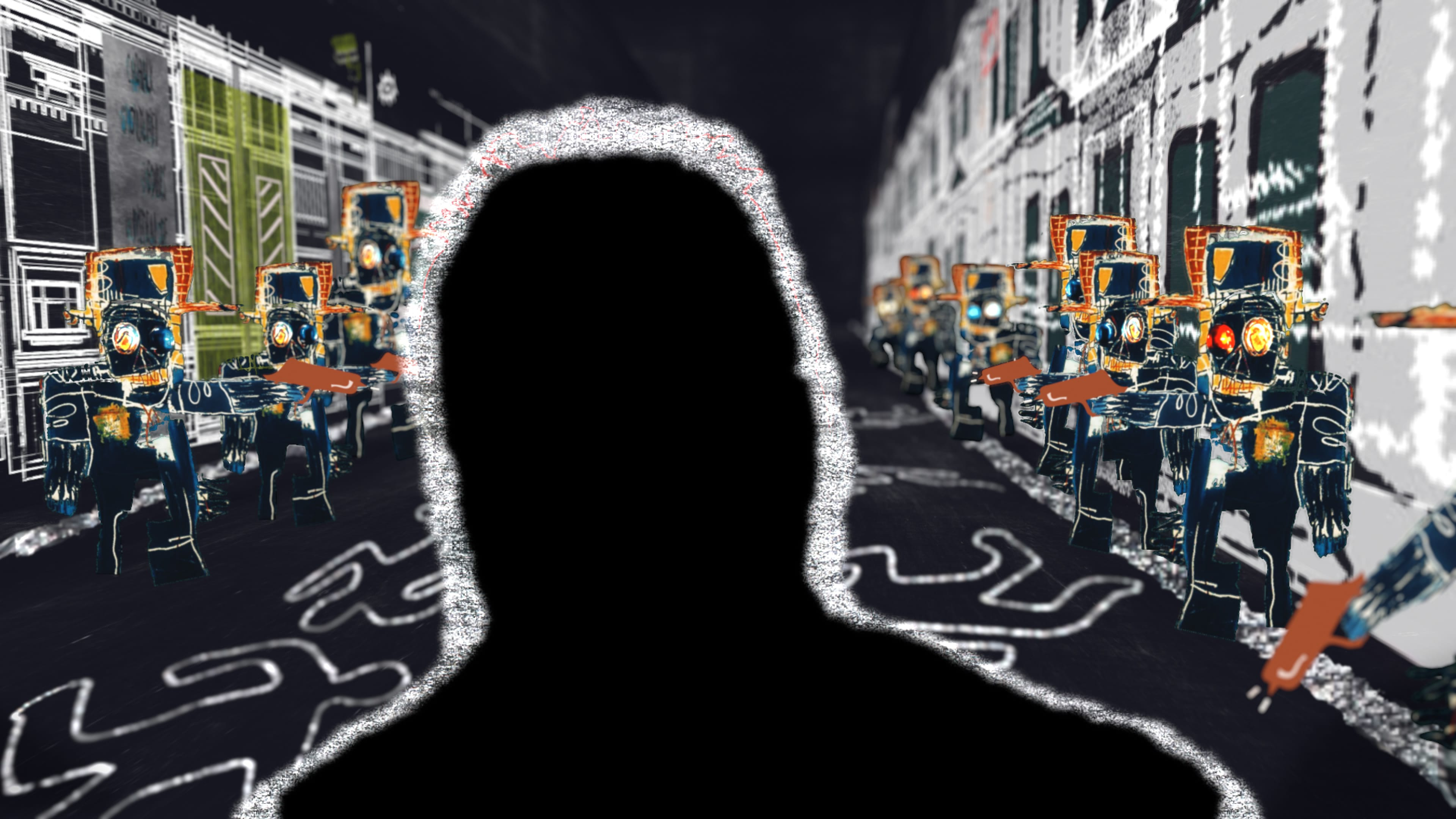 An illustration by Atomic Arts shows a street filled with chalk outlines of bodies. One of these outlines walks upright through the scene.