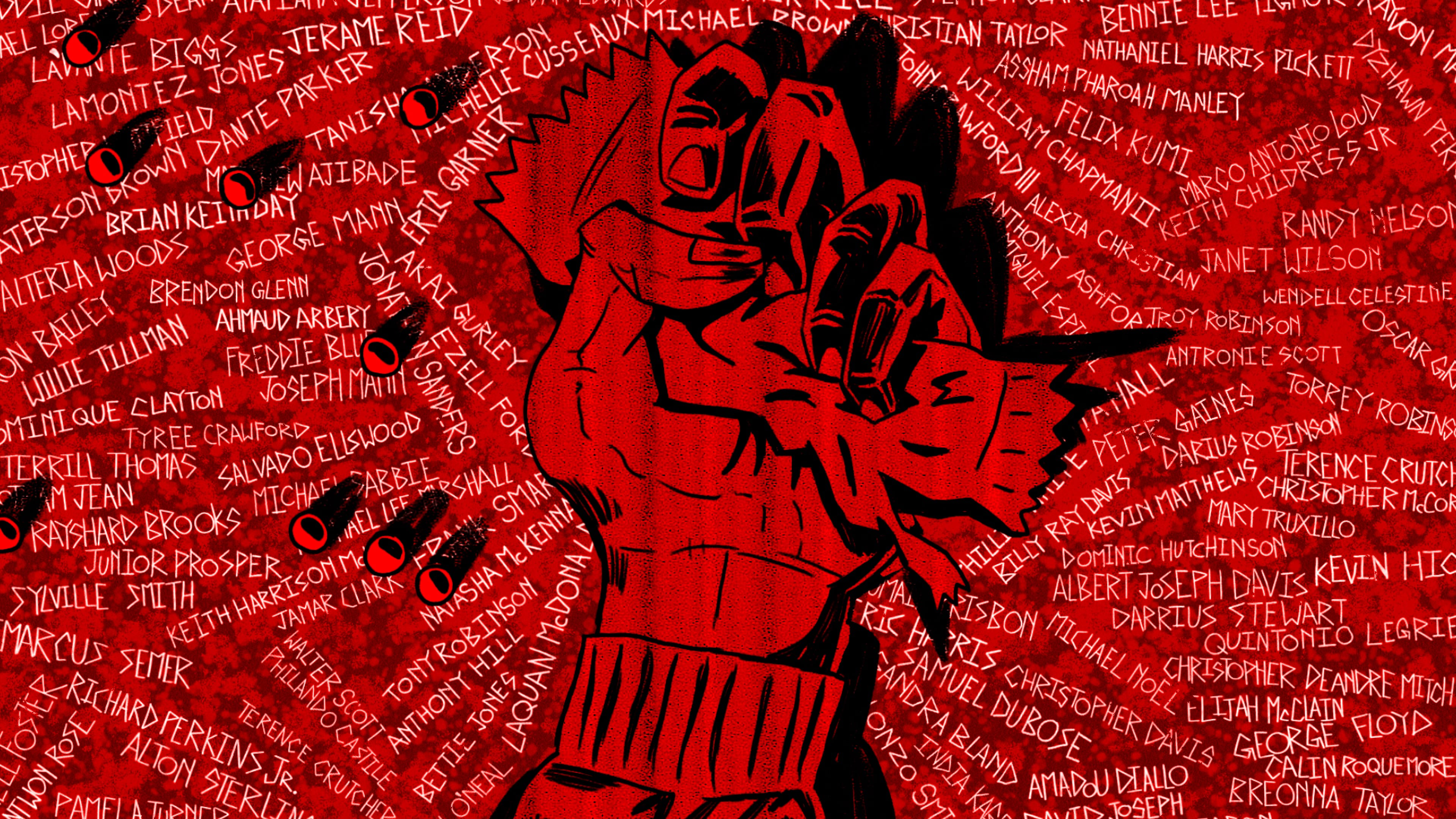 An illustration by Molevule VFX shows a hand grasping a candy wrapper. Candies spill out as the hand hits the ground. The scene is cast in red light. On the sidewalk are etched the names of individuals killed, victims of systemic racism: Eric Garner, Darius Robinson, Keith Harrison McLeod, Breonna Taylor, Willie Tillman, Akai Gurley, Michael Brown, Alteria Woods, Albert Joseph Davis, Ahmaud Arbery, and on and on and on.