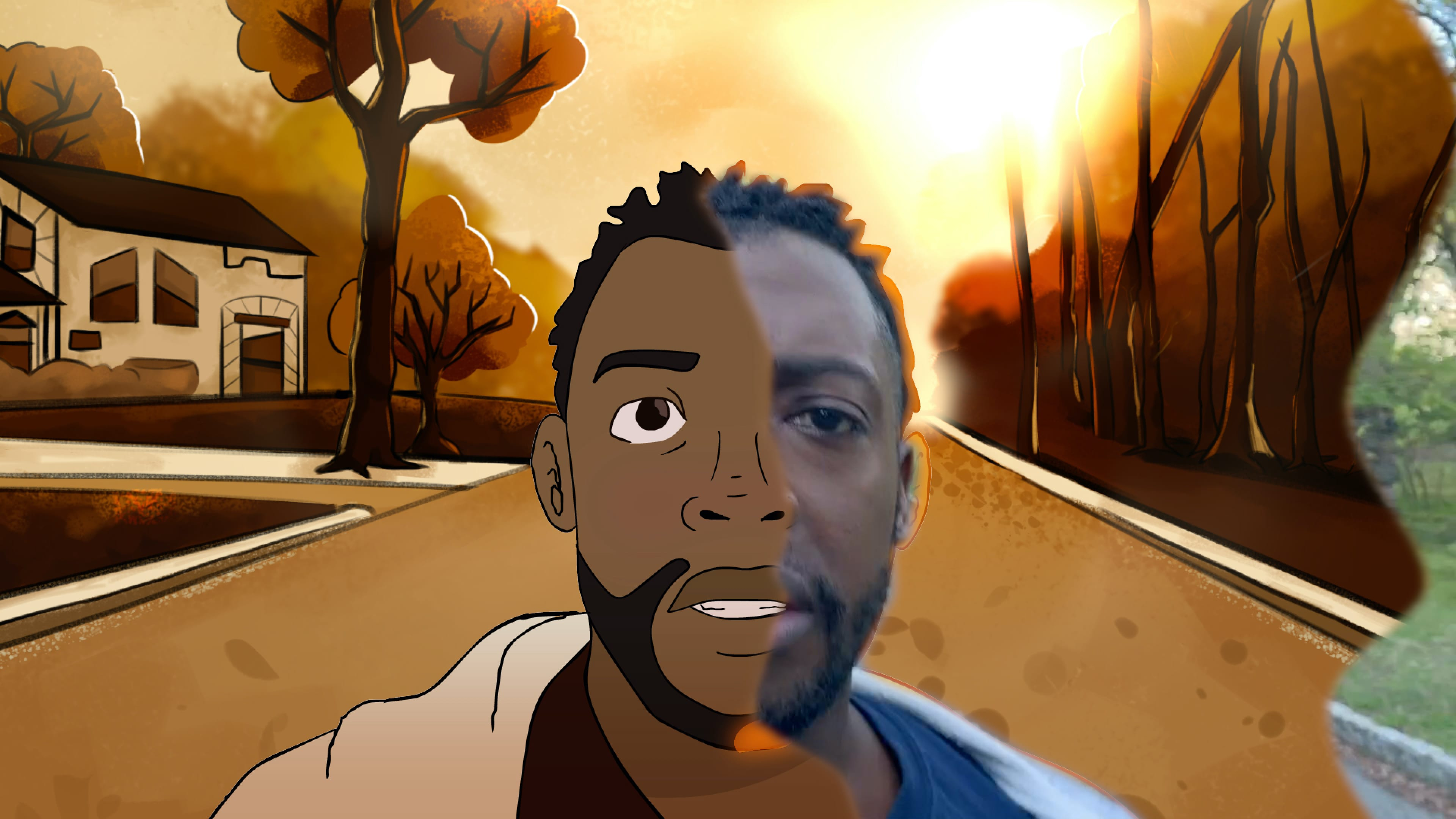 A still from *Cops and Robbers* shows a split screen, half of which is comprised of a photographic image of narrator Timothy Ware-Hill, the other half of which shows him as an animation. In the film, he jogging down as street, in a reference to the murder of Ahmaud Arbery. He recites the poem that provides the film's narrative.