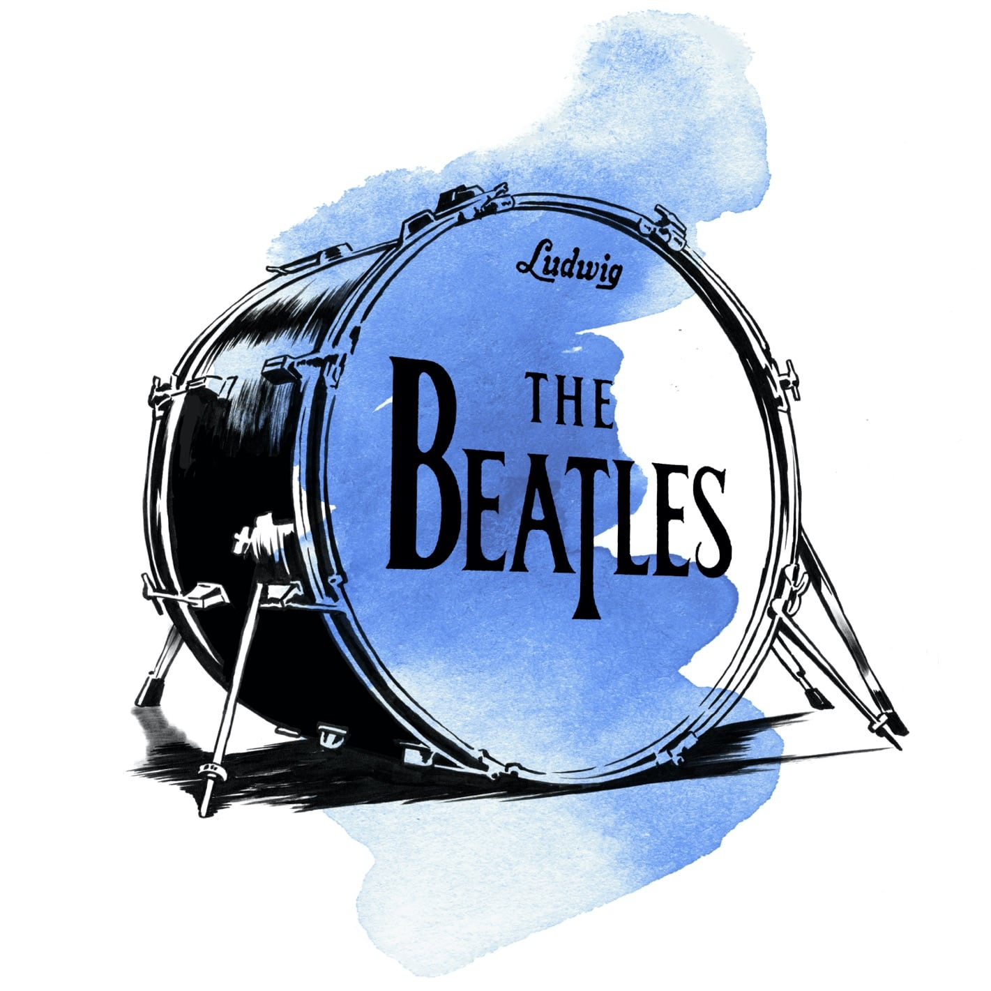 A watercolor illustration of a Ludwig bass drum repping the Beatles. Some 73 million people watched the band's U.S. debut on The Ed Sullivan Show in 1964, and Diane Warren was one of them!