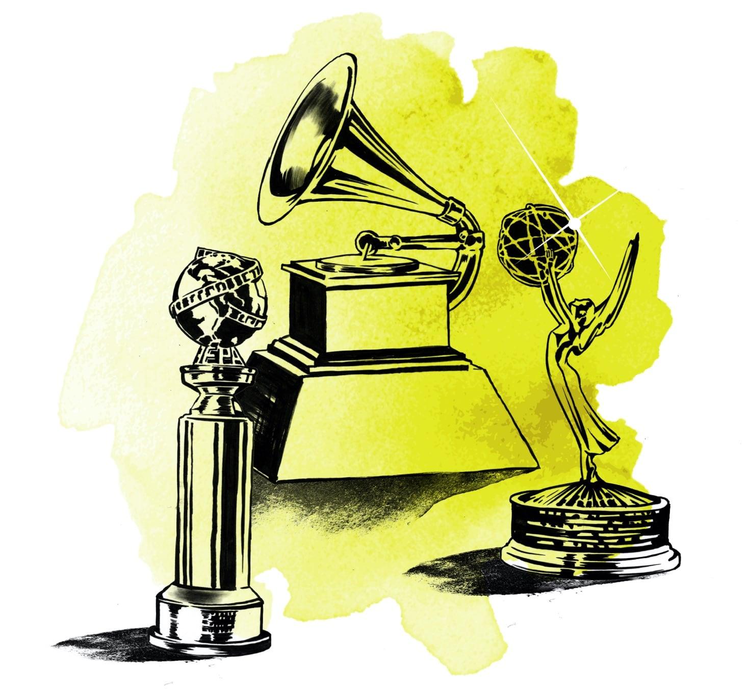 A watercolor illustration of a Golden Globe, a Grammy, and an Emmy statue — all awards that Diane Warren has won. Not quite an Egot, she's an Egg!