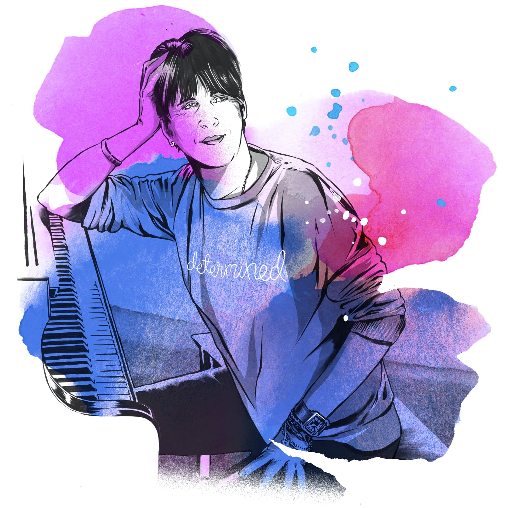 """Pencil-sketch illustration of songwriter Diane Warren sitting at a piano, wearing a sweater that reads """"determined."""" Watercolor detail in pink, purple, and blue."""