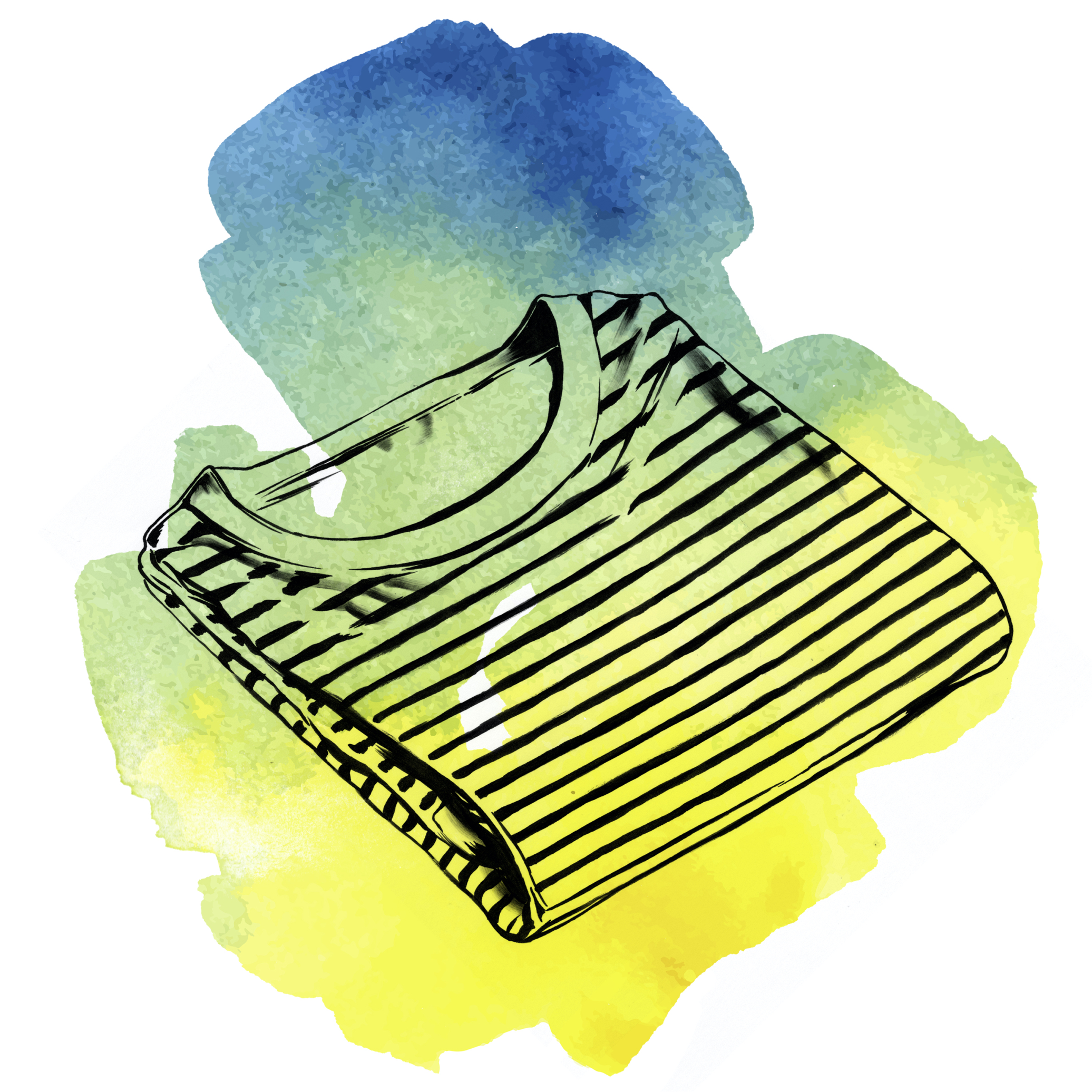 "Watercolor illustration of a striped French New Wave shirt, neatly folded. Or as Jean-Luc Godard might say: ""Quand j'entends le mot culture, je sors mon carnet de chèques."""