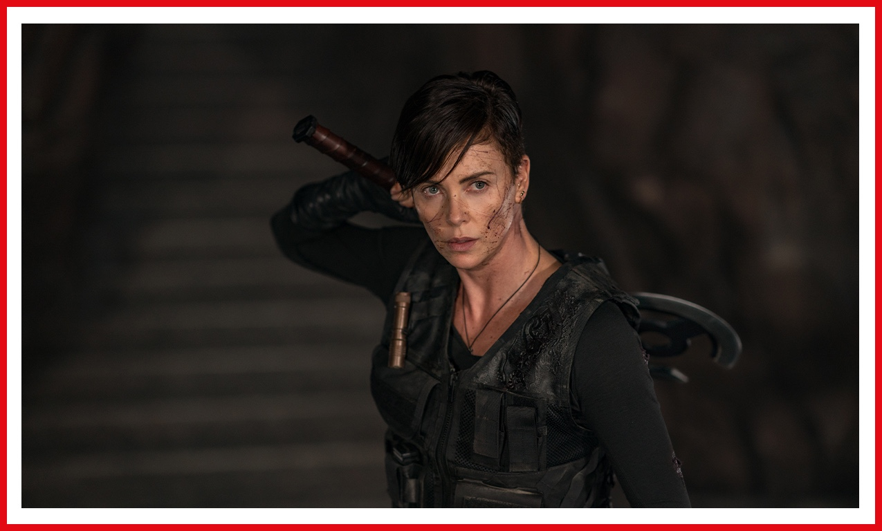 Charlize Theron looks ready for battle as Andy, leader of a group of immortal warriors
