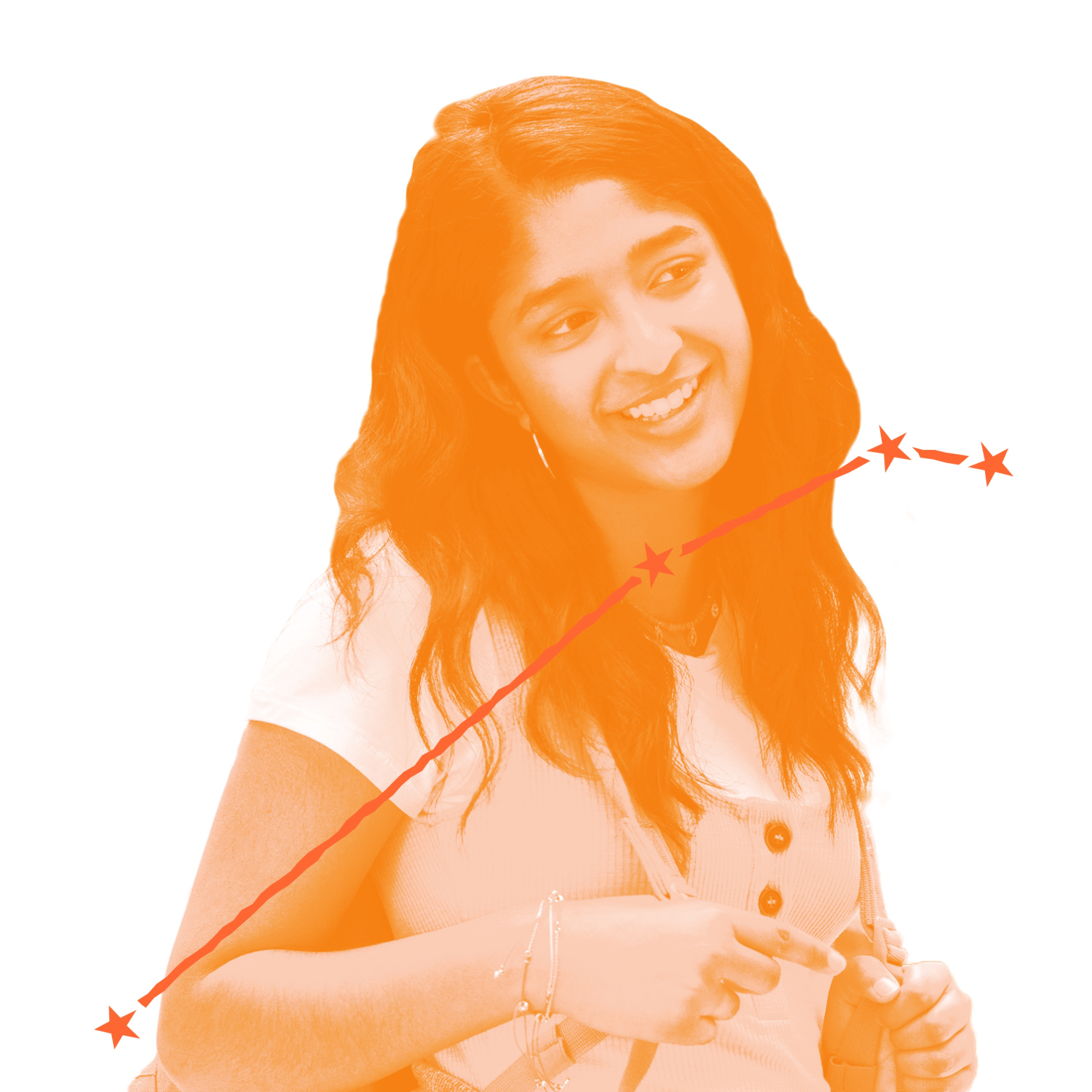 Devi Vishwakumar (played by Maitreyi Ramakrishnan) smiles in this still from Never Have I Ever. Wearing a white shirt and carrying a backpack, she looks like your average teen, but she's got chutzpah for days. Over the image is an illustration of Devi's zodiac constellation.