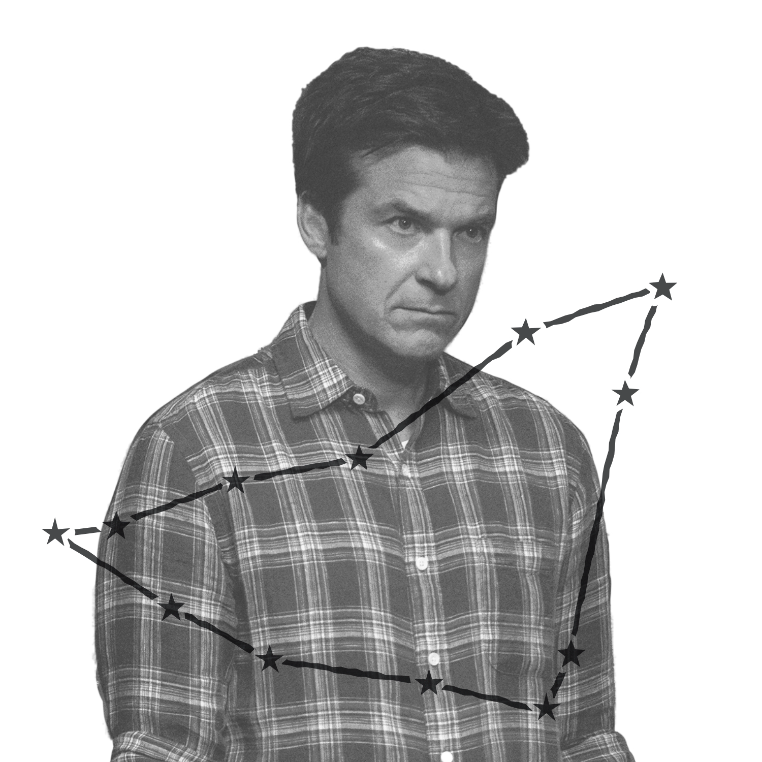 Marty Byrde (played by Jason Bateman) looks downright criminal in his flannel button-down in this still from Ozark. Over the image is an illustration of Marty's zodiac constellation.