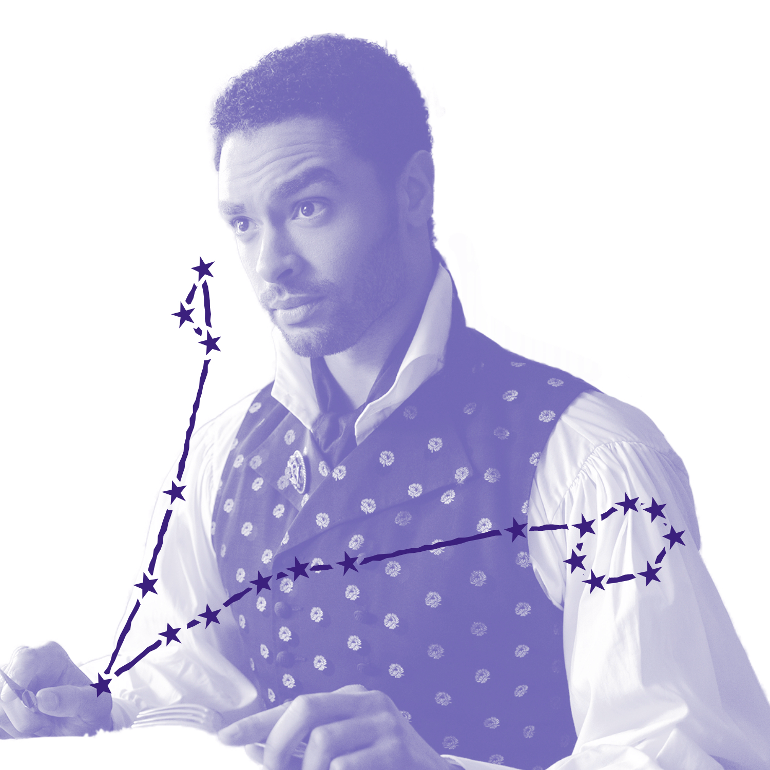 Simon Baset (played by Regé-Jean Page) wears an impenetrable expression that far overshadows his heavily patterned vest and puff-sleeved shirt. Over the image is an illustration of Simon's zodiac constellation.