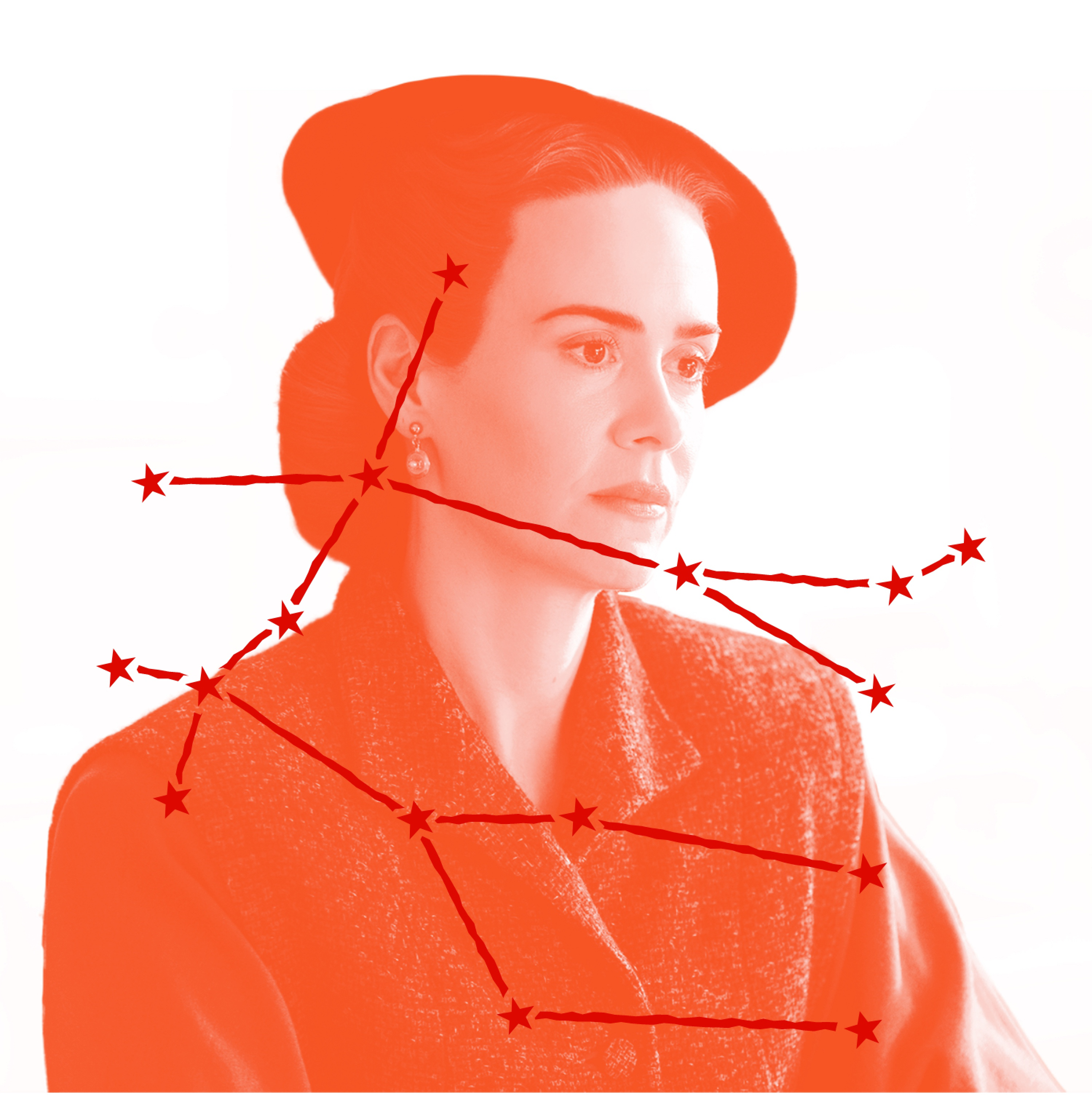 Mildred Ratched (played by Sarah Paulson) looks stern in a precisely chosen coat and hat ensemble in this still from Ratched. We know her star sign, but even we can't tell you what she's scheming. Over the image is an illustration of Mildred's zodiac constellation.