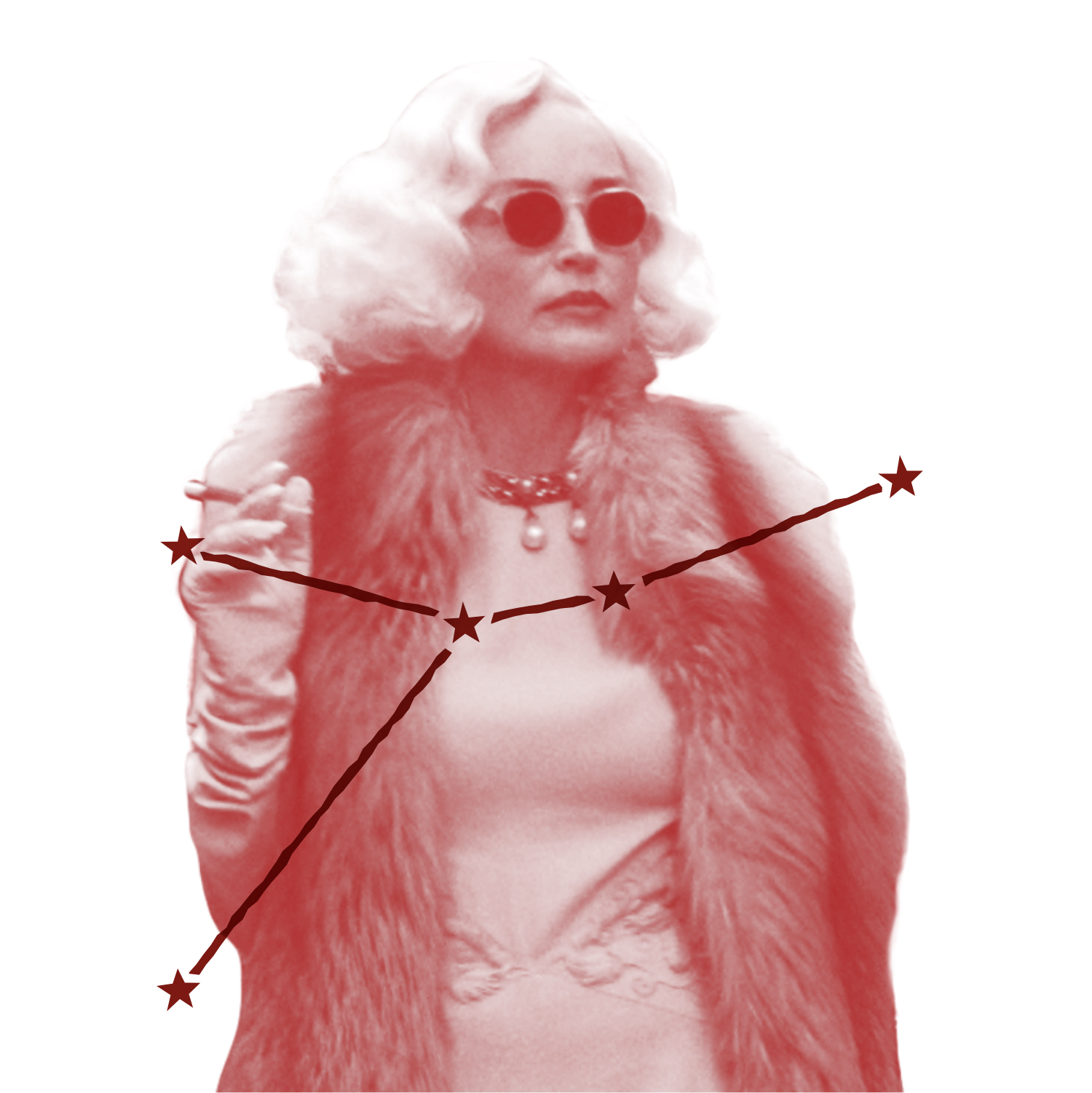 Lenore Osgood (played by Sharon Stone) is chic and tremendously camp in this still from Ratched. She wears white gloves that match her platinum bob, plus furs, pearls, and a pair of sunglasses. (But where's the monkey?) Over the image is an illustration of Lenore's zodiac constellation.