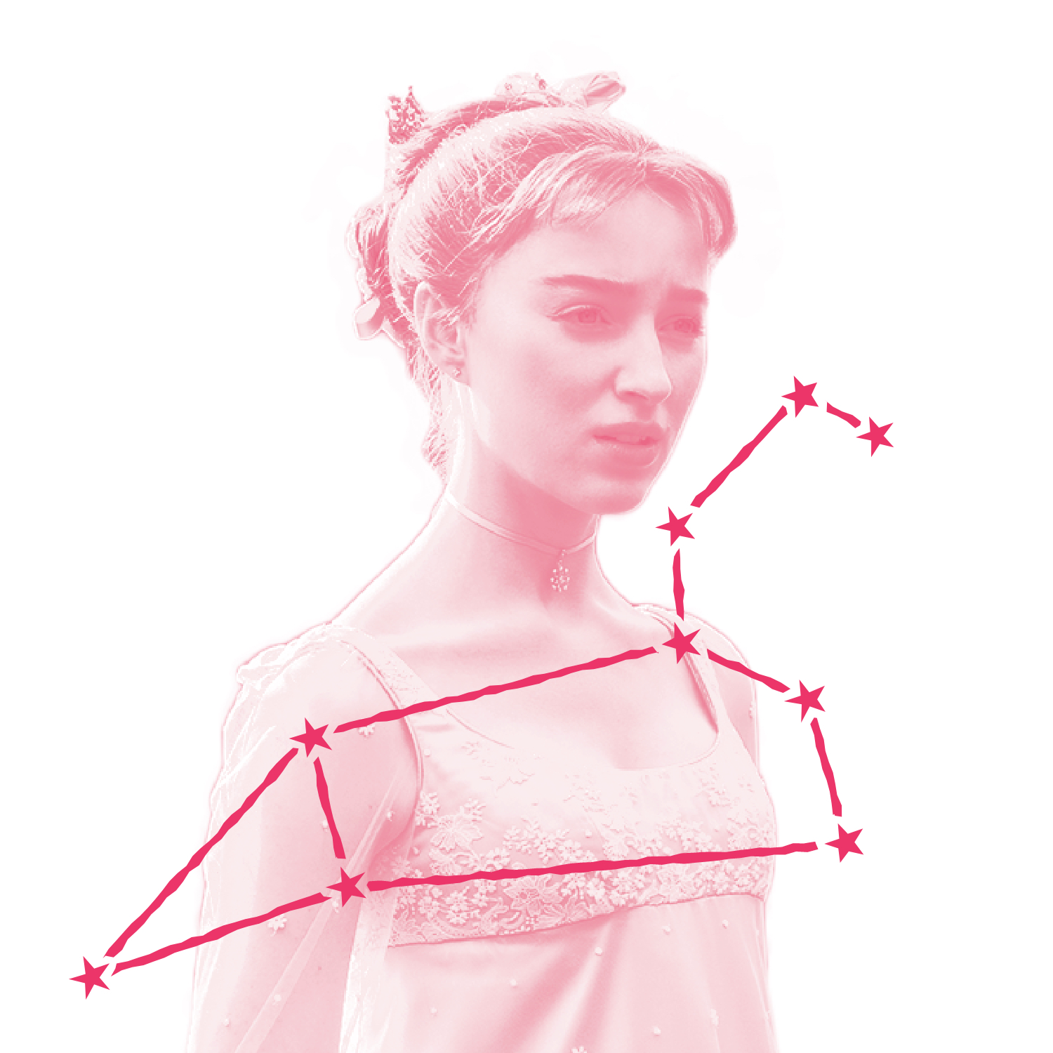Daphne Bridgerton (played by Phoebe Dynevor) wears the expression of the love-lorn and righteous in this still from Bridgerton. Who in the world do you think she's brooding over? Over the image is an illustration of Daphne's zodiac constellation.