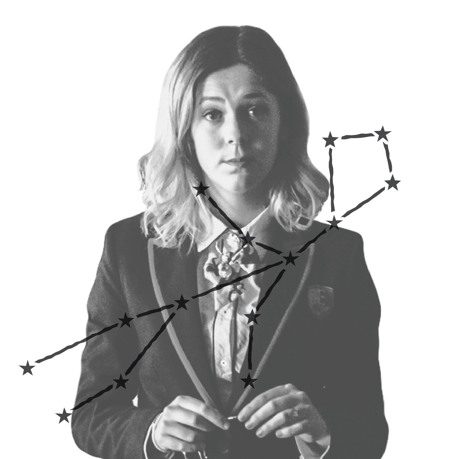 Cayetana Grajera Pando (played by Georgina Amorós) is all business in her school blazer in this still from <i>Elite</i>. She looks like she gets what she wants. Over the image is an illustration of Cayetana's zodiac constellation.