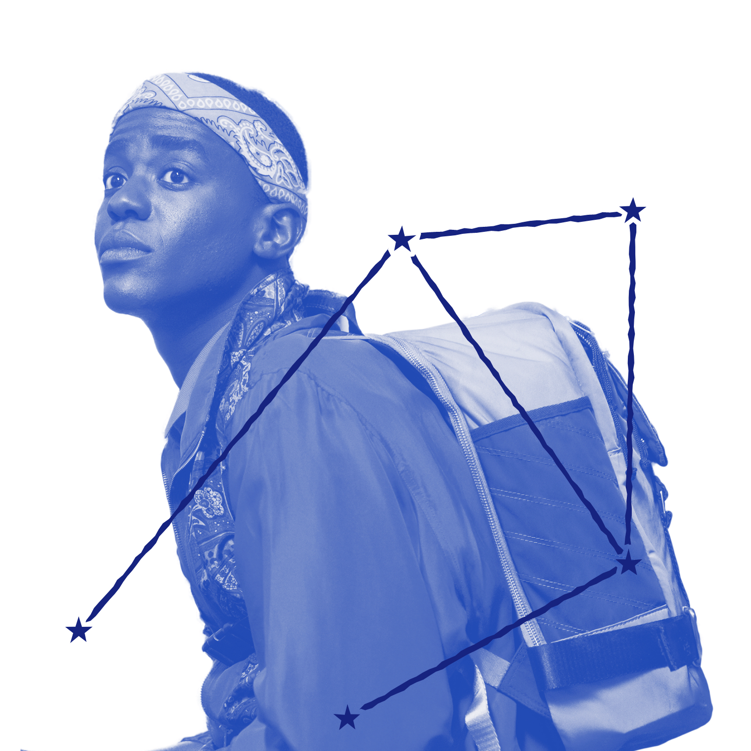 Eric Effiong (played by Ncuti Gatwa) is fabulous in a paisley bandana in this still from Sex Education. Only Eric can make a school backpack into a fashion statement. Over the image is an illustration of Eric's zodiac constellation.