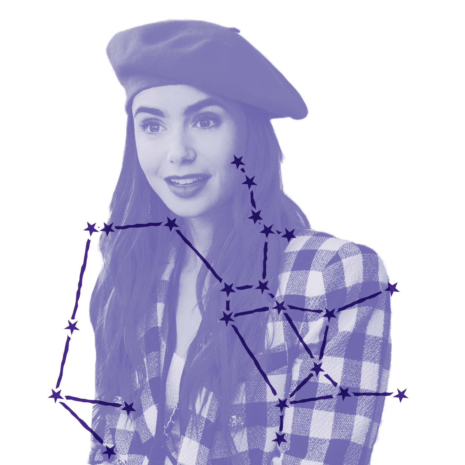 Emily Cooper (played by Lily Collins) is ready to conquer the world in her checkered coat and beret in this still from Emily in Paris. Over the image is an illustration of Emily's zodiac constellation.