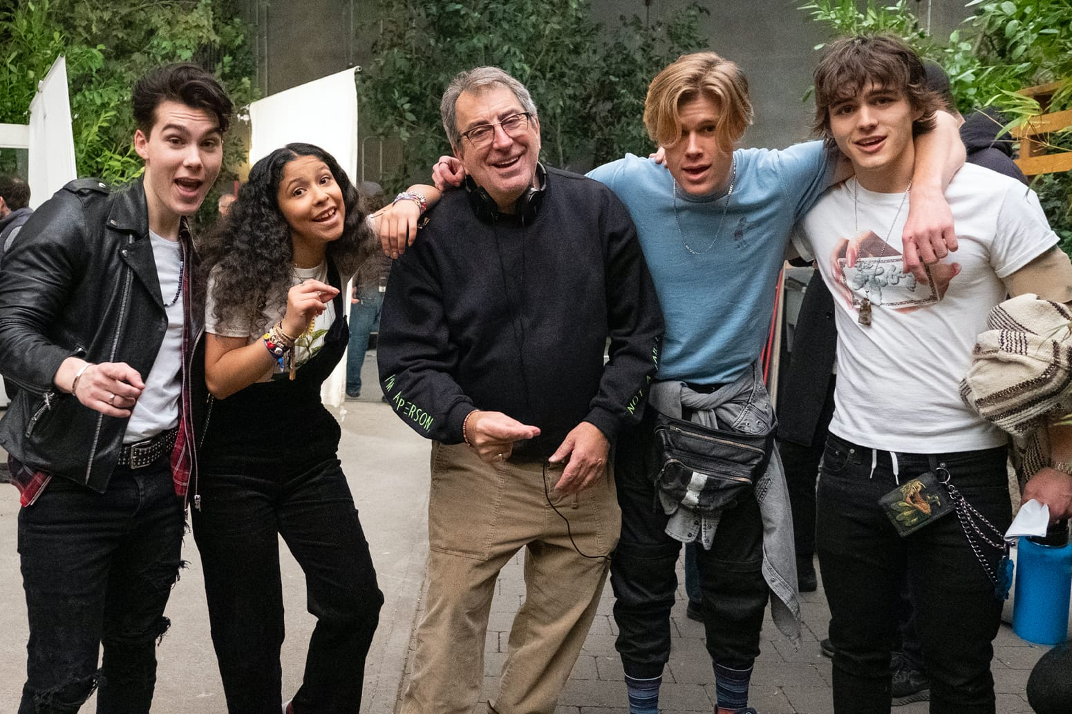 Kenny Ortega with *Julie and the Phantoms* cast members Jeremy Shada, Madison Reyes, Owen Patrick Joyner, and Charlie Gillespie