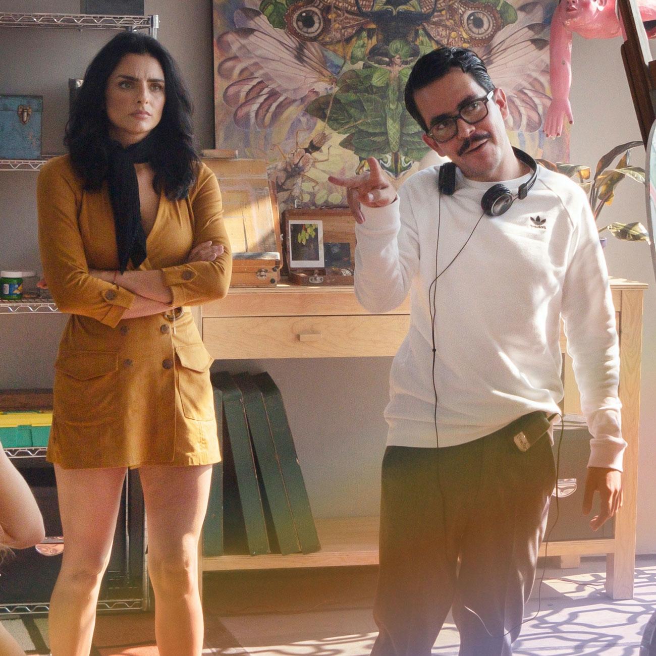 Aislinn Derbez with Manolo Caro on set