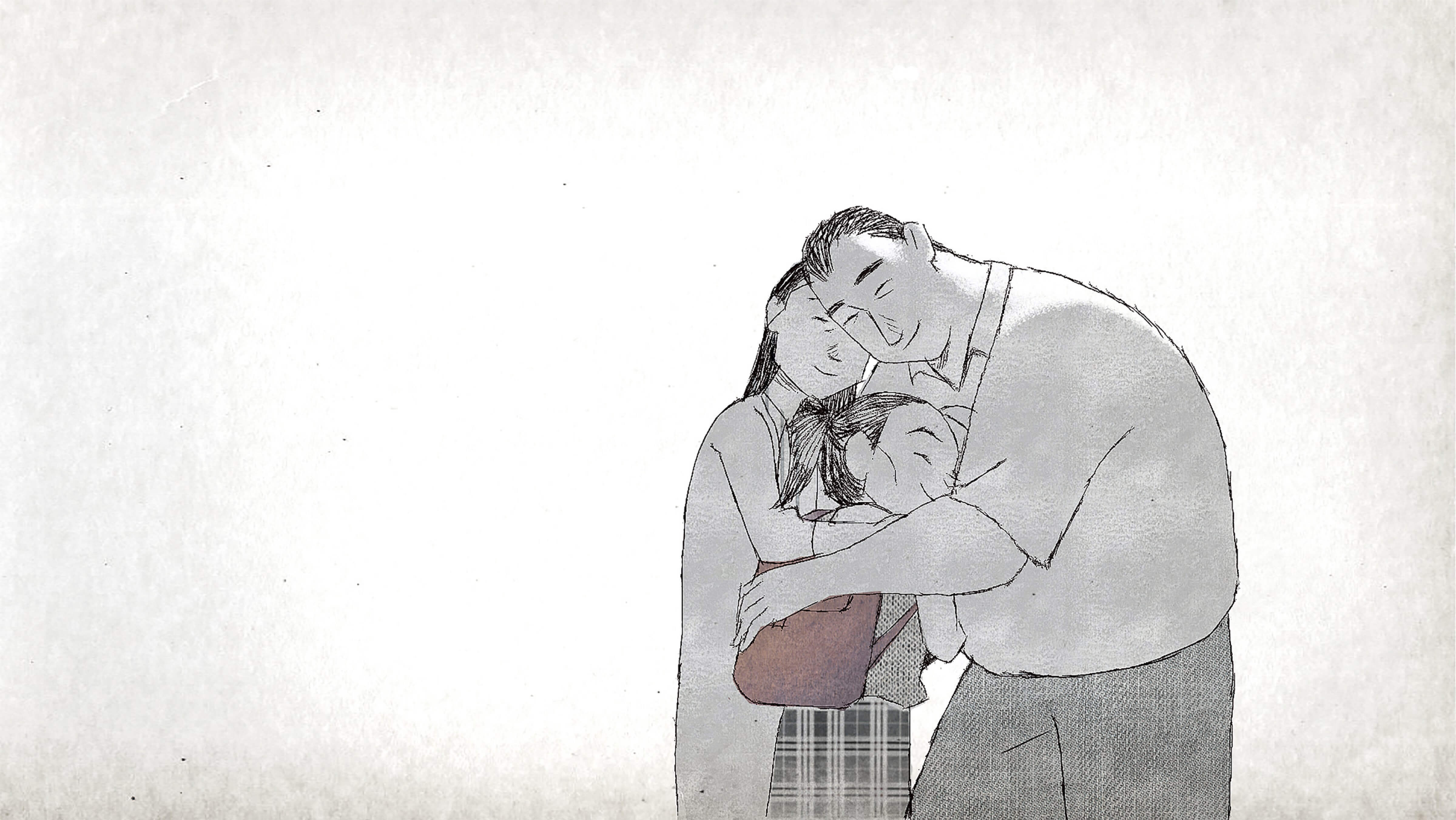 A still from If Anything Happens I Love You. The couple at the center of the film hug their young daughter, who is pictured in a school uniform
