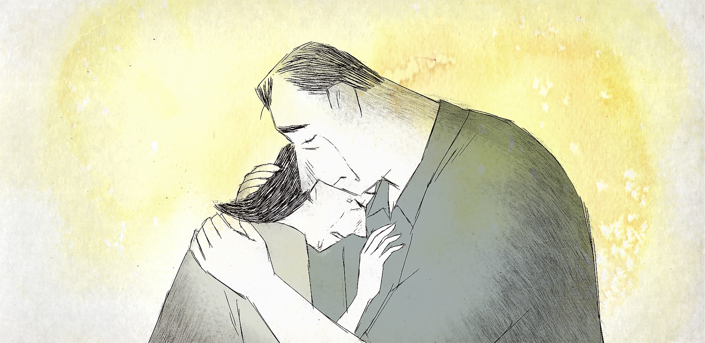 A still from If Anything Happens I Love You. The couple is pictured grieving, in an embrace.