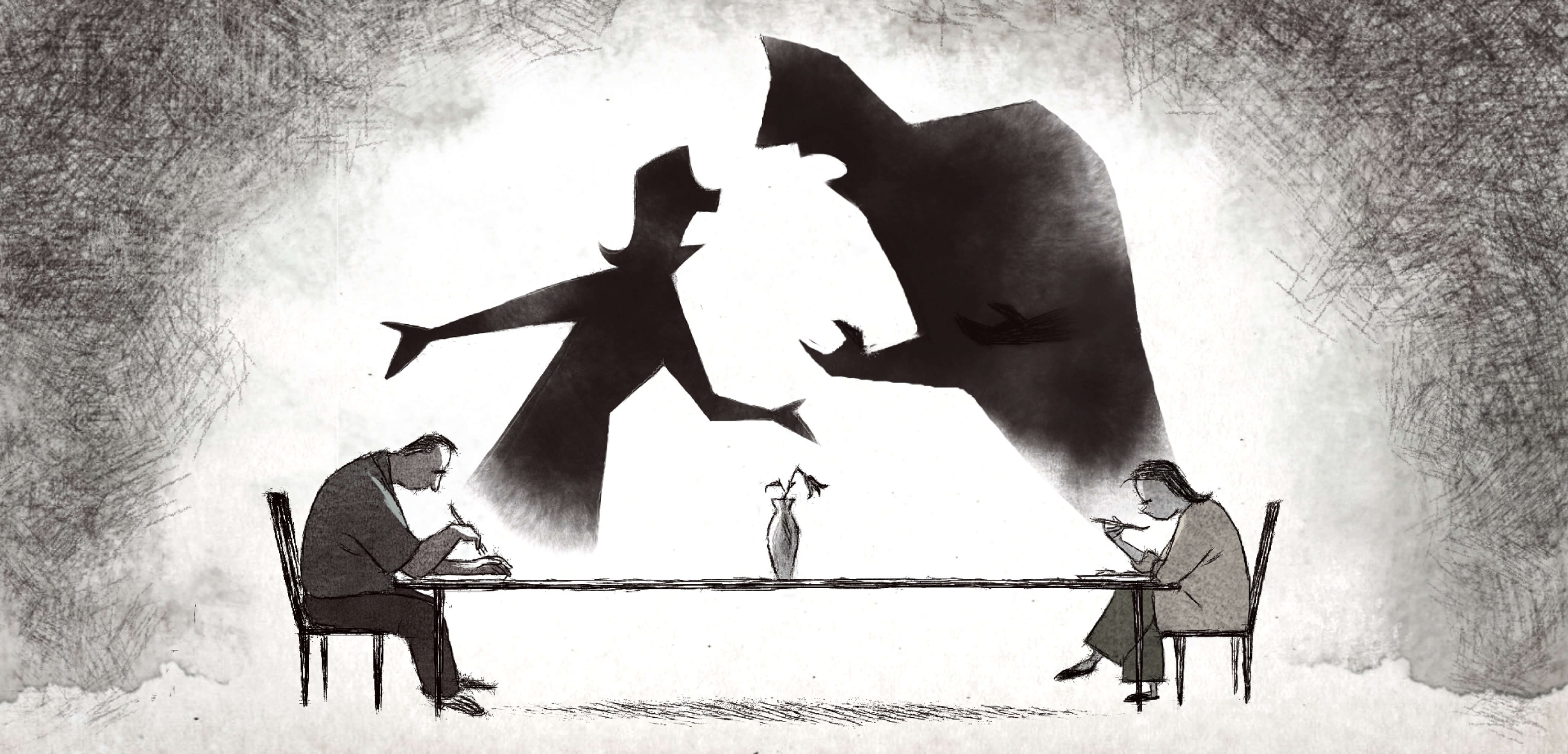 A still from If Anything Happens I Love You. The grayscale animation shows two parents sitting far apart, on opposite sides of a dinner table, their eyes downcast. An imagined silhouette of the couple arguing looms above the scene.