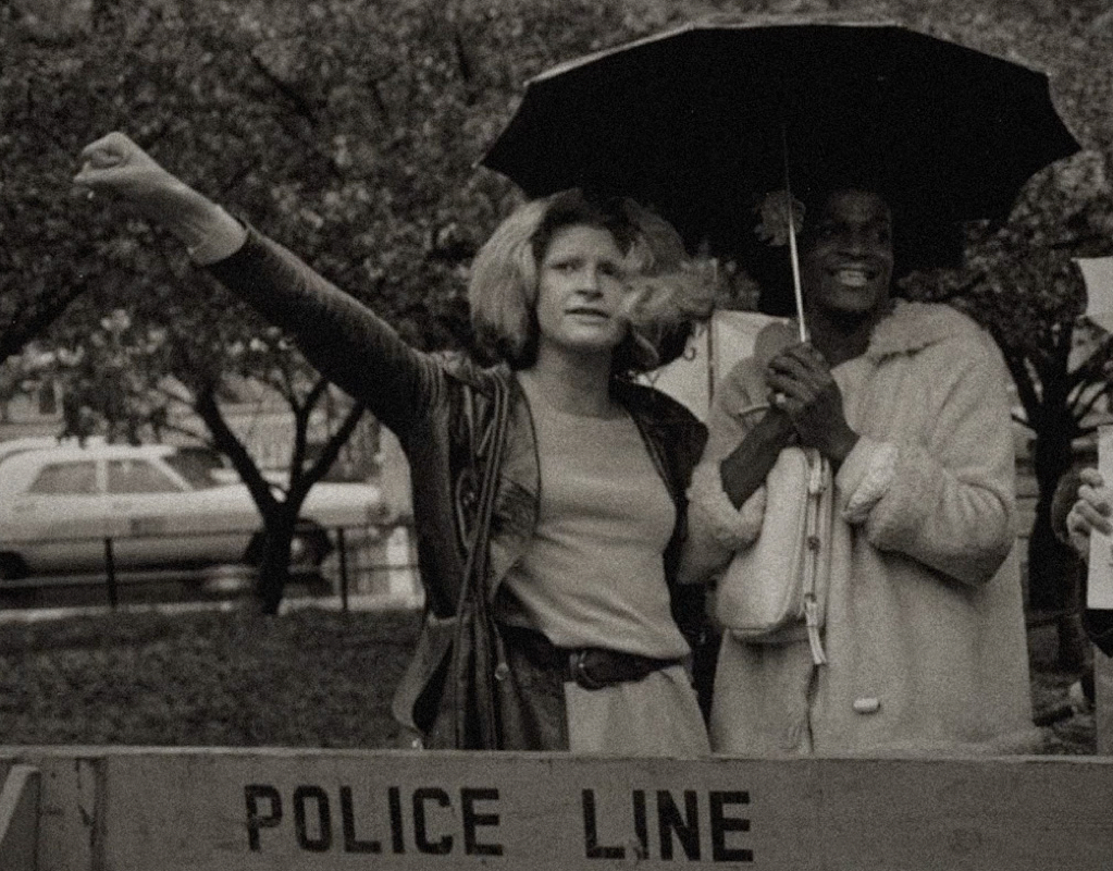 Sylvia Rivera and Marsha P. Johnson stand at the front lines of a protest in New York City, 1973