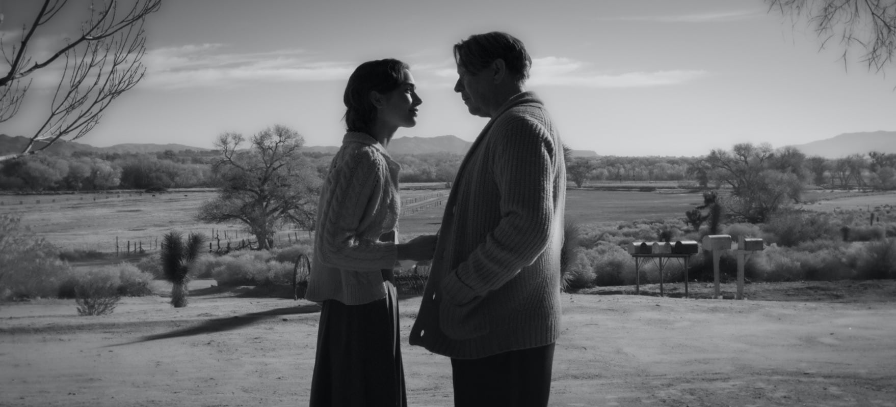 Lily Collins shares a scene with Mank co-star Gary Oldman. They are silhouetted against a desert landscape, wearing the most luscious cable-knit sweaters.