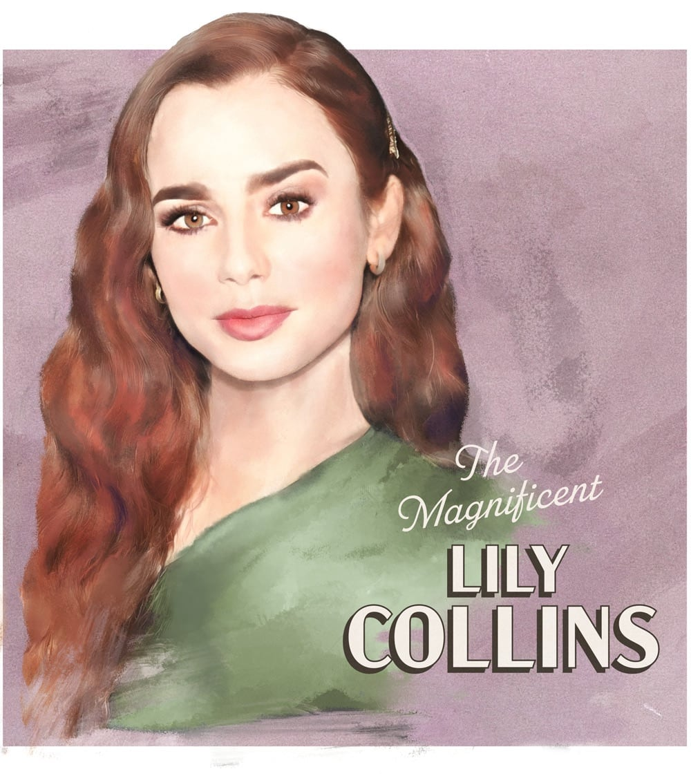 Actress Lily Collins, illustrated in the mode of an Old Hollywood movie poster.