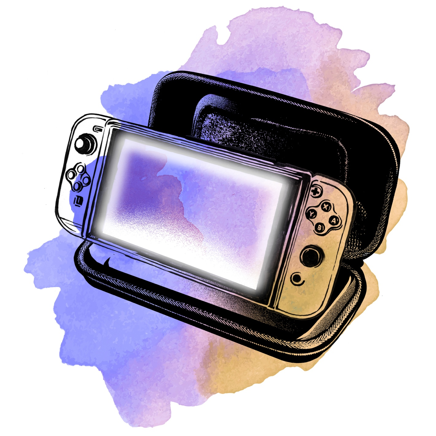 Watercolor illustration of Maitreyi's Nintendo Switch. Kids these days!