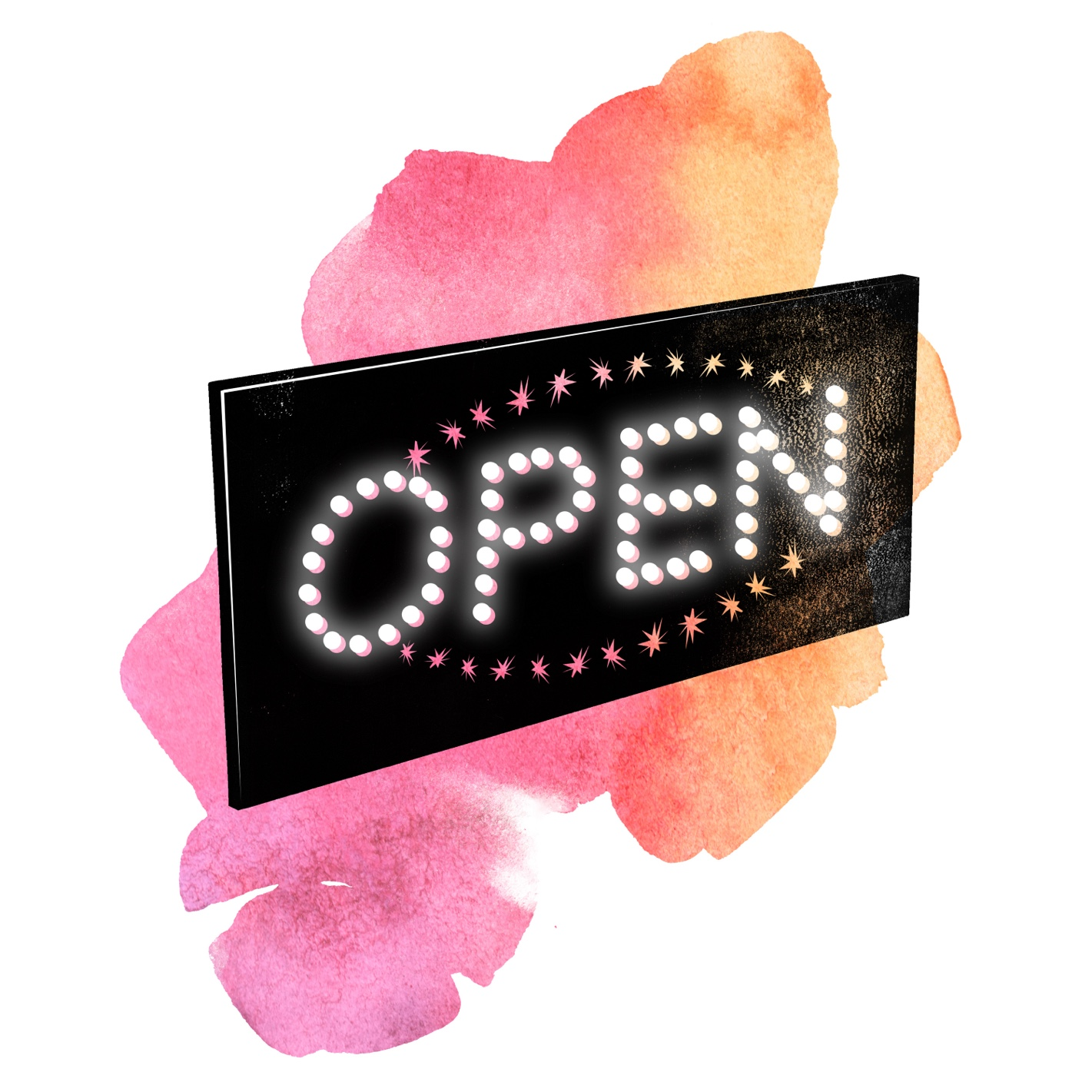 """Watercolor illustration of the """"Open"""" sign from Kim's Convenience. Pitch us that crossover event!"""