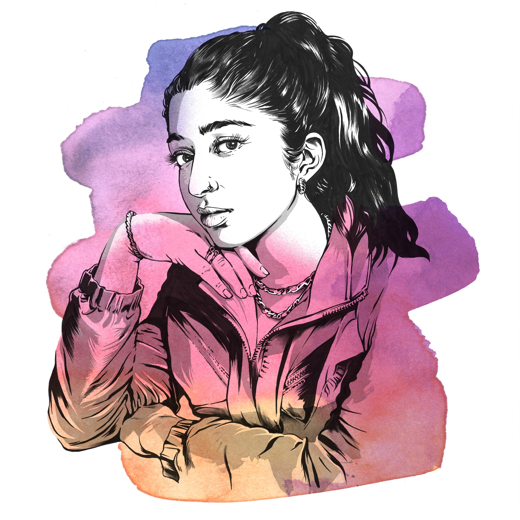 Pencil and watercolor sketch of Maitreyi Ramakrishnan looking effortlessly glamorous in a windbreaker and gold jewelry.