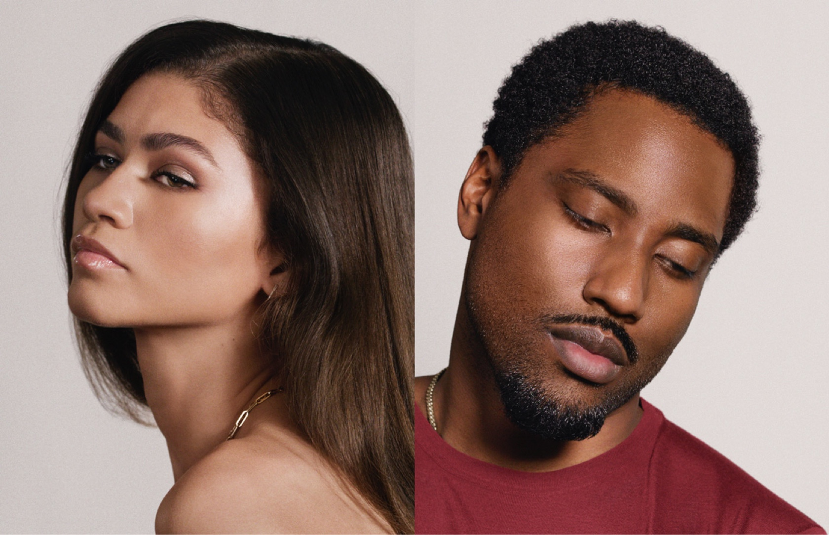 Portraits of Zendaya and John David Washington. Zendaya appears in profile with her hair down. Washington, wearing a red sweater, casts his eyes downwards.