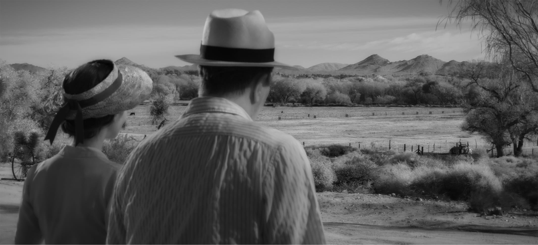 In a shot from the film, we see how the scene above translates to a black-and-white experience. The tones from Collins's blouse and hat match the desert landscape in front of her. The textures of the drying foliage are soft.