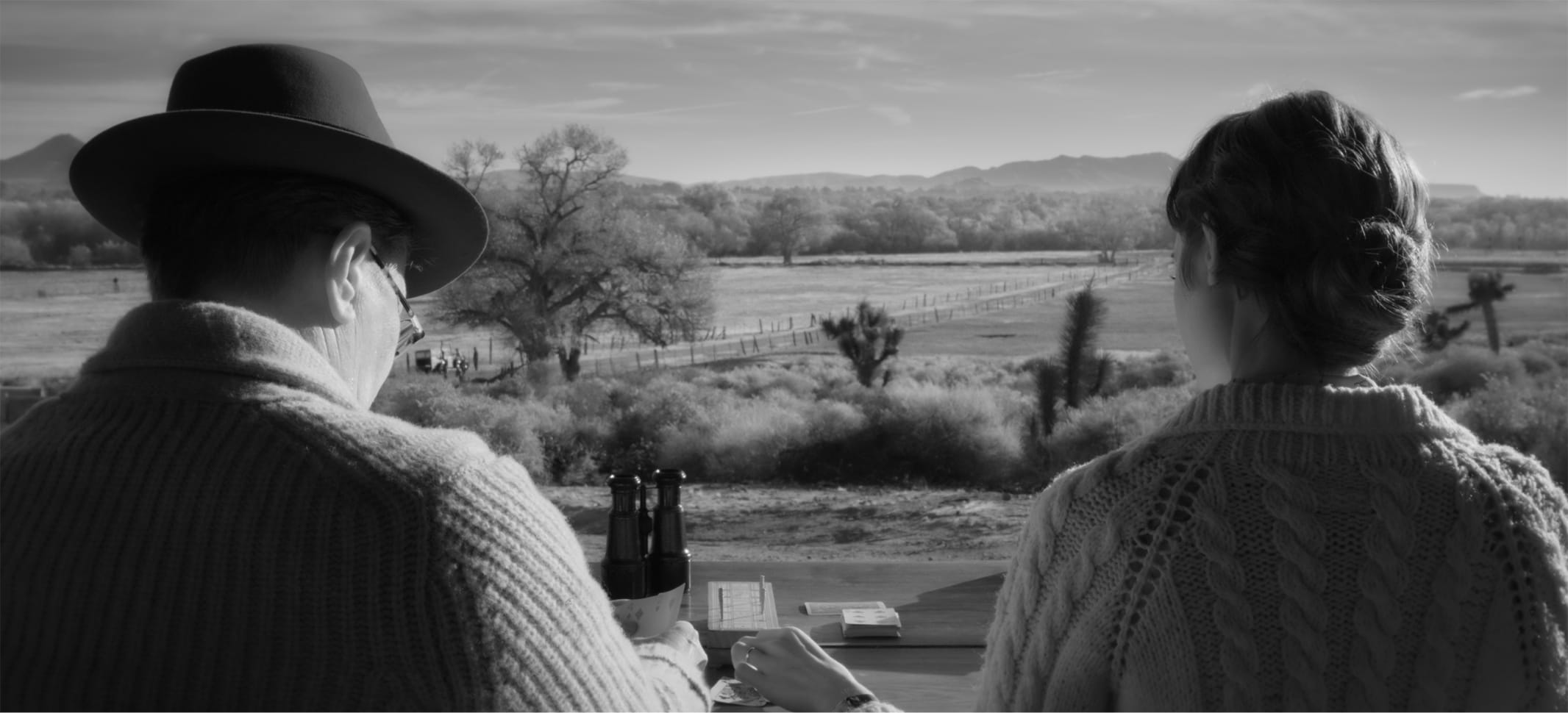 In a shot from the film, we see how the scene above translates to a black-and-white experience. The dusky landscape is a study in grays, and the textures of Oldman's and Collins's cable-knit sweaters jump from the screen.